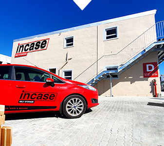 InCase self storage with branded car